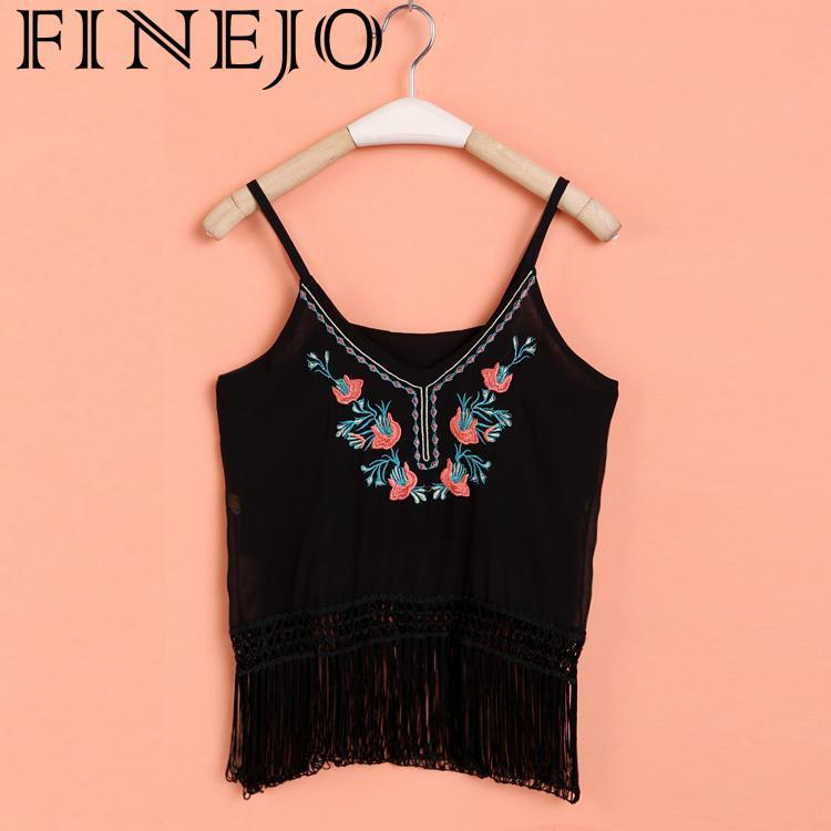 a94a23d21b FINEJO Lady Sleeveless Sexy V-neck New Tops Straps Floral Tank Fashion  Low-cut Women s Ladies
