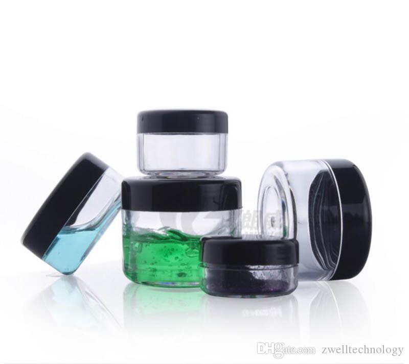 الجرار وعاء التجميل مستديرة واضحة عالية الجودة 3G / 3ML مع أغطية غطاء المسمار الأسود وزجاجة صغيرة الجيل الثالث 3G الصغيرة