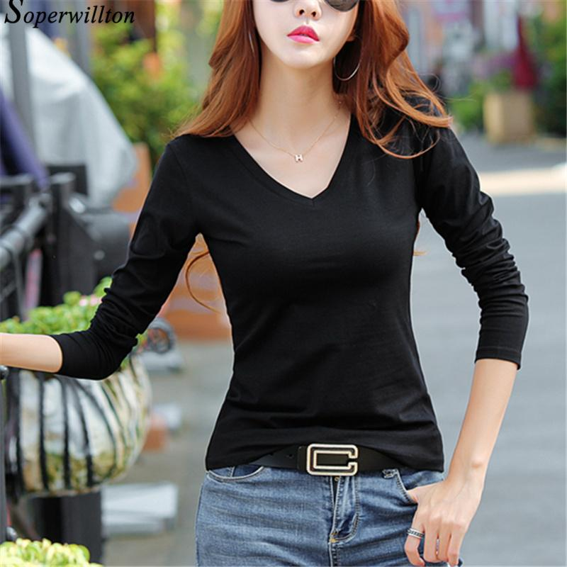 e504e411d Autumn Long Sleeve Tshirt For Women V Neck Solid Basics T Shirt Female  Black White Cotton Casual T Shirt S 3XL Korea Style  T24 Tee Shirt Design  Printed ...
