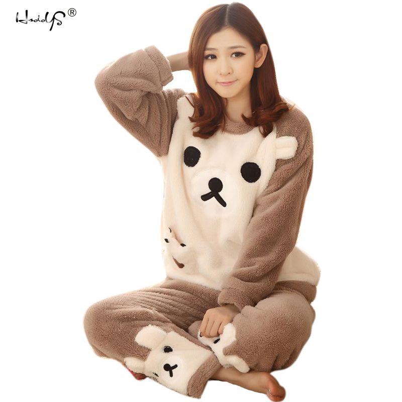 Women Pajama Sets 2018 Autumn Winter Flannel Cartoon Warm Pyjamas Women  Homewear Animal Sleepwear Cat Female Pajama S1015 Honeymoon Nightwear Kids  Nightwear ... c709c61a1