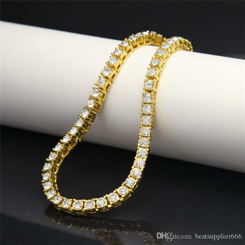 Unisex Hip Hop Bracelet 14k Gold Iced Out 1 Row Tennis Bling ... e8772f4f38dc