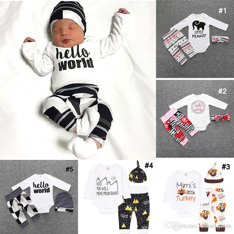b658aca95 Toddler Clothes Set Cotton Long Sleeve Rompers Long Pants with ...