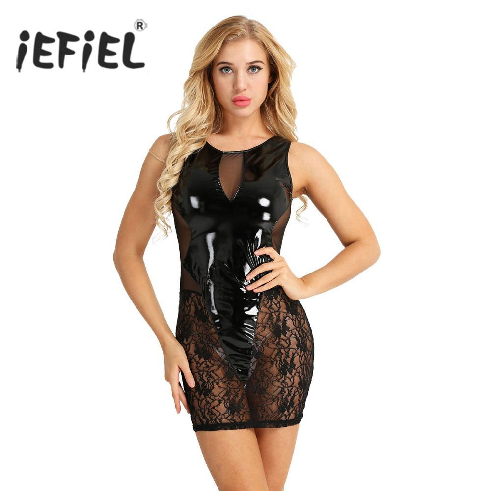 7c0f61cfb416 omen's Clothing Dresses iEFiEL Women Ladies Wet Look Lace Splice Sleeveless  Semi-See through Slim Club Sexy Party Clubwear Dress for Cost.