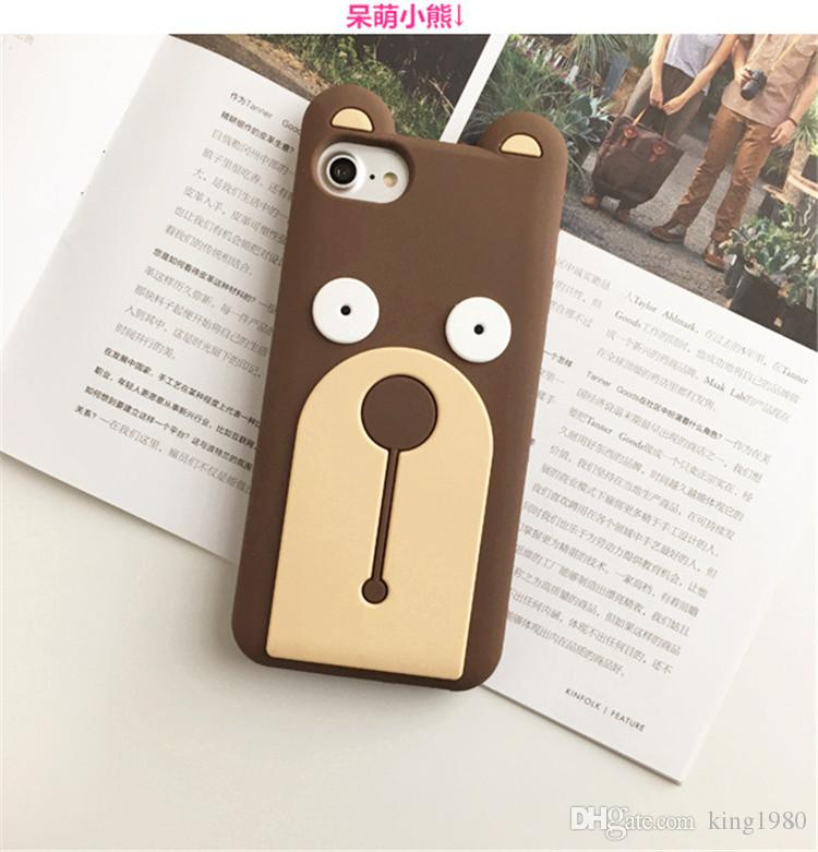 Cute Animal 3D Covers For iPhone 6S Plus Cases Soft Elastic Silicone Gel Shockroof Case Bumper Yellow and brown bear cover