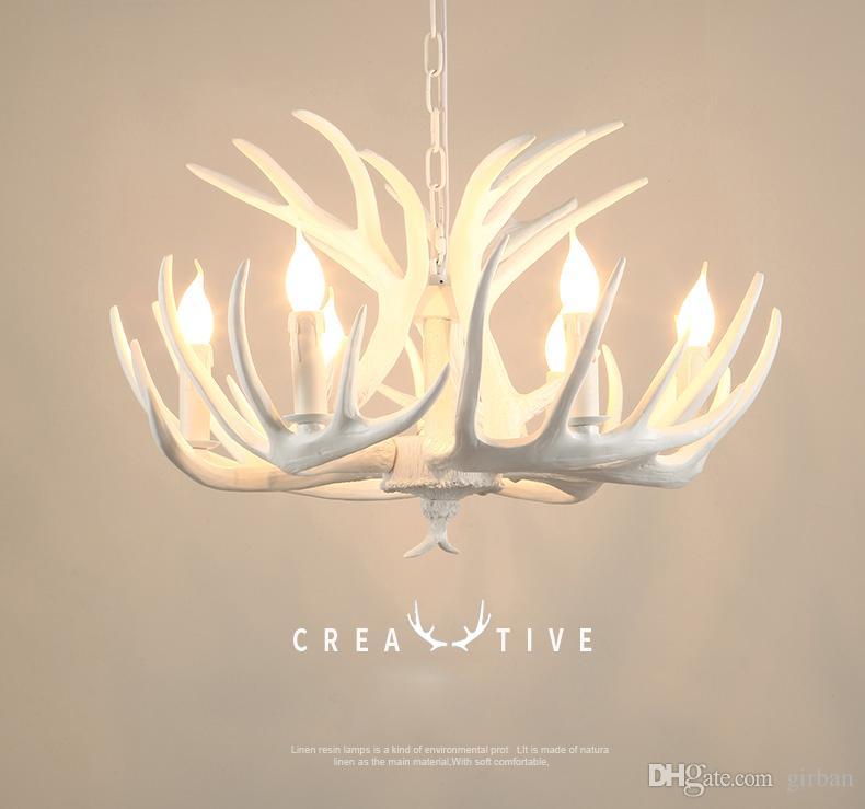 Vintage 9 Heads Europe Deer Horn Antler Pendant Lamp Candle Antler Chandelier Resin tree branch shape pendant light