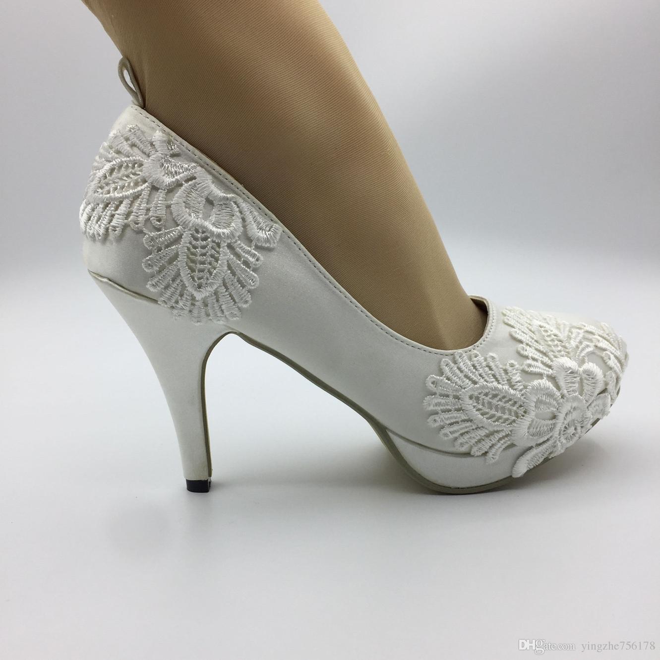 d104353f3 Handmade Women Wedding Shoes Ivory Pearl Ribbon Bride Wedding Dresses  Diamond Lace Manual Wedding Wedge Sandals EU35 41 Beach Wedding Sandals  Black Wedding ...