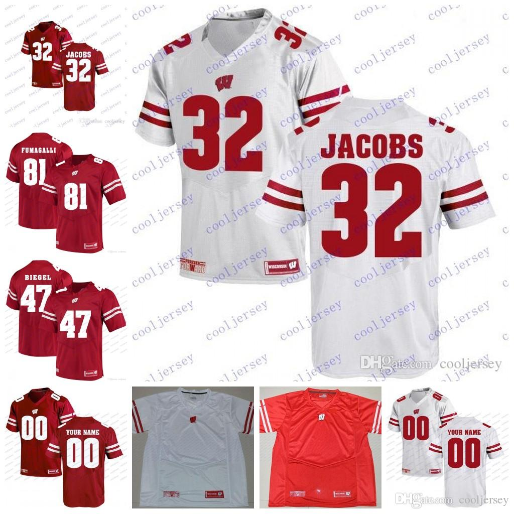 low priced 5ea24 85f0d Custom NCAA Wisconsin Badgers #32 Leon Jacobs 11 Owen Daniels 58 Ricky  Wagner 51 Mike Webster College Football Jerseys White Red Stitched
