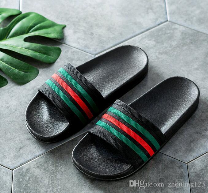 59cef5255d8 2018 New Fashion Designer Striped Slippers Mens Europe Tiger Slides ...