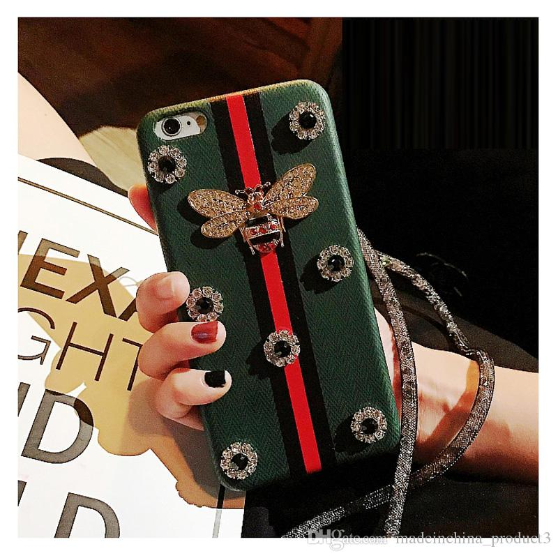 Luxury Rhinestones Bee Case For iPhone 8 Plus Diamond Geometric Texture PU Leather Cover Back For iPhone X 6 7 8 6S