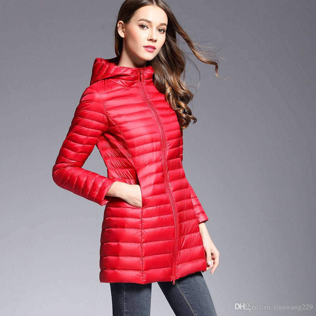 d4c562325f4 2019 Hooded Winter Spring Women 90% White Duck Dow Down Jacket Woman Ultra  Light Down Long Jackets Warm Outdoor Portable Coat Parkas Outwear From ...