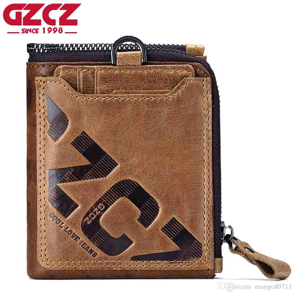 4cf3f2ad446b GZCZ Genuine Leather Men Wallet Fashion Coin Purse Card Holder Small Wallet  Men Portomonee Male Clutch Zipper Clamp For Money Cheap Designer Wallets  Wallets ...