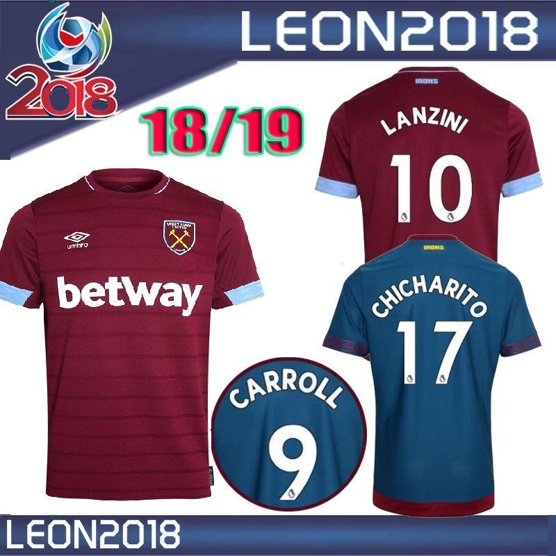 f8903b7a2 Compre Tamanho S Xxl 2018 2019 West Ham United Em Casa Futebol Jersey 18 19  Chicharito Camisas De Futebol Carroll Sakho Ayew Camisa De Futebol De  Leon2018