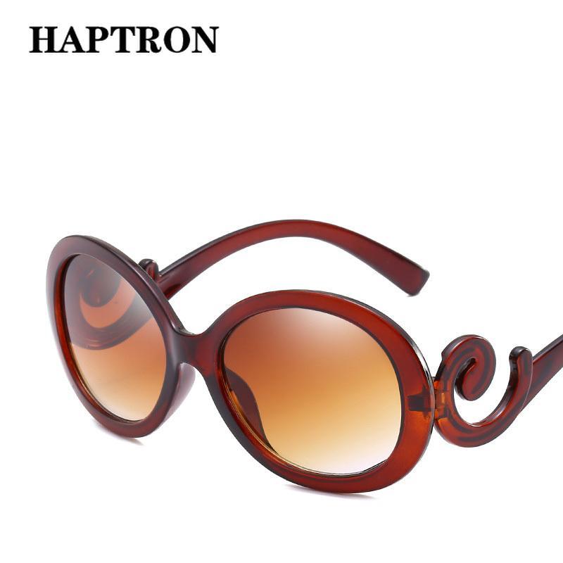 c8d7edf2b1 HAPTRON Big Oval Sunglasses Women Vintage Gradient Brand Designer ...