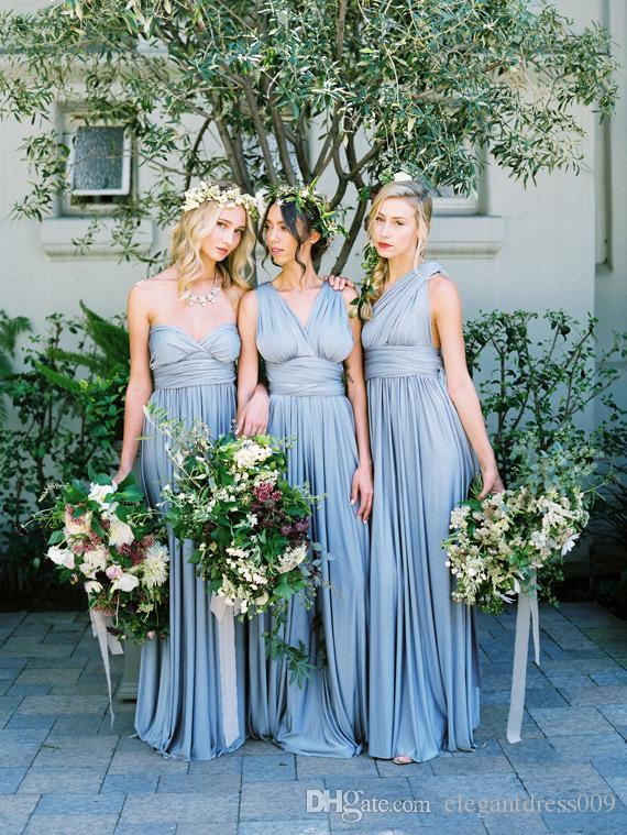 Bebé barato simple azul convertible dama de honor vestidos de novia de cuello en V piso de los plisados longitud de la boda Ráfagas vestidos de dama de honor Vestidos