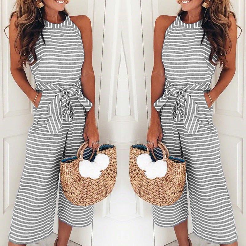 b051efe0e40 Women Summer O Neck Bowknot Pants Playsuit Sashes Pockets Sleeveless  Rompers Overalls Sexy Office Lady Striped Jumpsuits Women Summer Dress Long  Dress For ...