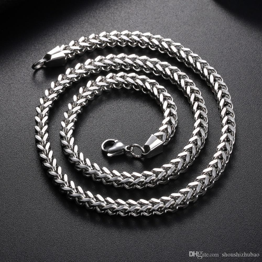 Punk Rock Metal Длинные цепи Link ожерелье для мужчин из нержавеющей стали 6MM Широкий 18-30 дюймов Vintage титана +2017 Заявление ювелирные изделия CHN001