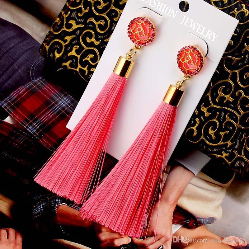 Rosa Pendientes de Borla Estilo Largo Multi Color Joyería de Moda Pendientes Accesorios para DIY Craft Jewerly Mujeres Pendiente G587S