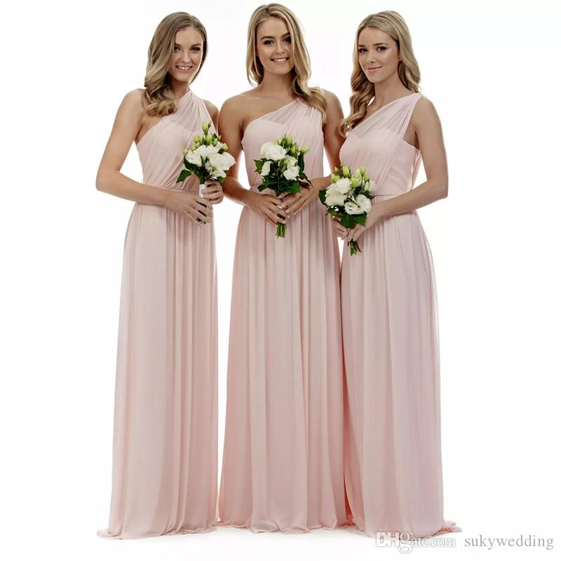 4a5111a33d7 Blush Pink Chiffon Bridesmaid Dresses One Shoulder A Line Pleats Bridesmaids  Gowns For Summer Country Wedding Party Gowns Floor Length Green Bridesmaid  ...