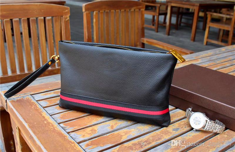 4a769f2ab3f New Fashion Designer Men Clutch Bag Italy Top Lychee Leather Clutch K6115  Zipper Black Square Leather Wallet Bronze Accessories With Box Batman  Wallet ...