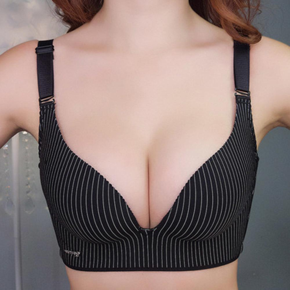0454a26d48 Womens Push Up Bra Seamless Gather Wireless Ladies Sexy Stripe Lingerie Plus  Size Bralette Bh Top 30 40 A B C D Cup C18110301 Canada 2019 From Tong04
