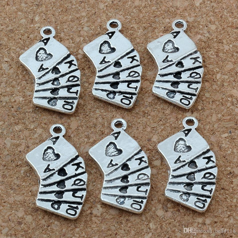 MIC . / Antiqued Silver Alloy Playing Cards Charms Pendants 13x25mm DIY Jewelry A-164