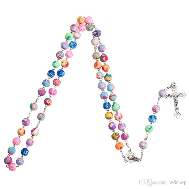 Fashion Cross Jesus Necklace With Polymer Clay Rosary Beads Jewelry Catholic Christian Colorful Rosary Crucifix Pendant Necklace