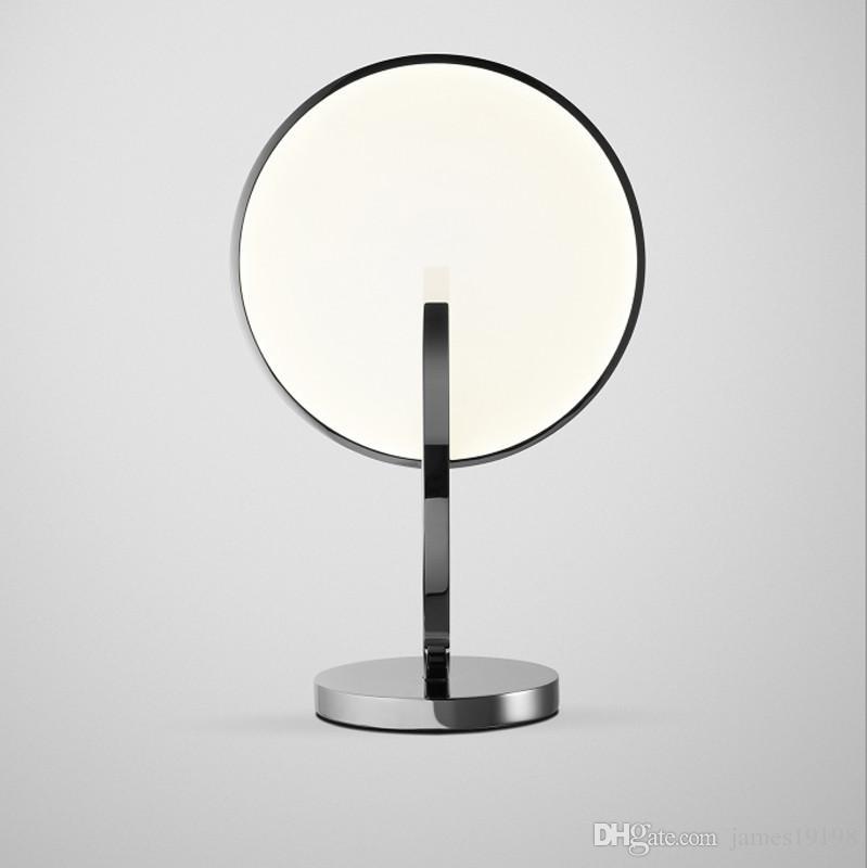 Métal Lampe En Étude Showroom G811 Table Oeil Chevet Lumière Moderne Argent Rond Décor Chambre Accueil Miroir Éclairage Led De 6YbIyvgf7m
