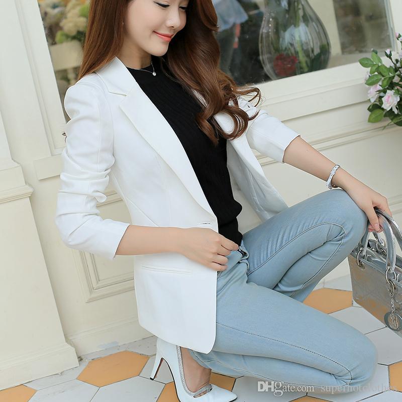 Damen Blazer Langarm Blaser Frauen Anzug Jacke Weibliche Feminine Blazer Femme Blau Weiß Schwarz Blazer Herbst Anzüge & Sets