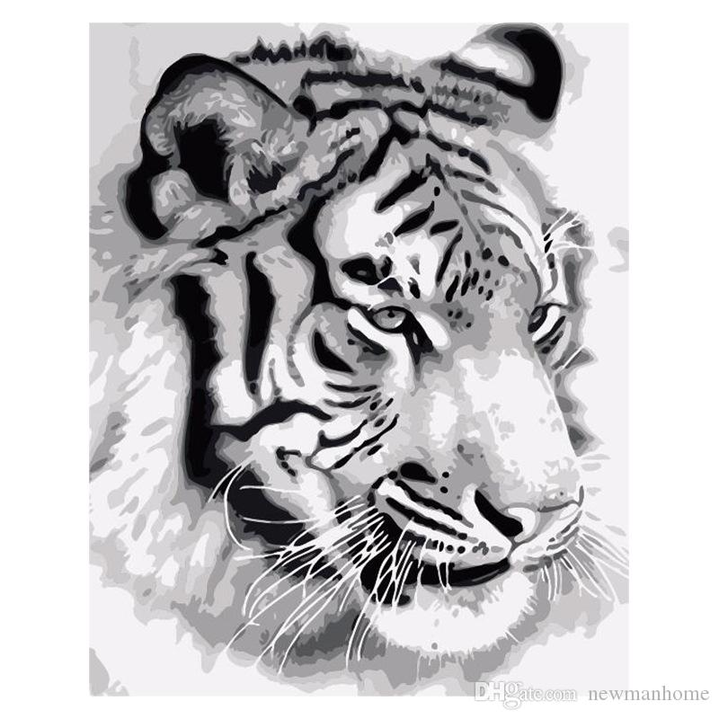 New product diy oil painting number oil painting kit white canvas three brushes metal hook felid tiger seashore lovers good vivid decorative