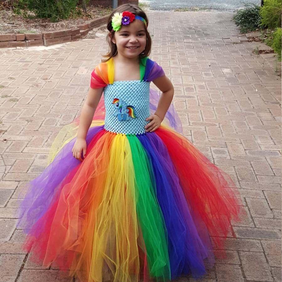 6b1b4159cb 2019 2018 Full Length Rainbow Tutu Dress Girl Kids Fluffy Handmade Tulle  Tutu Dress Birthday Party Wedding Xmas TS098 From Xielisa, $14.08 |  DHgate.Com