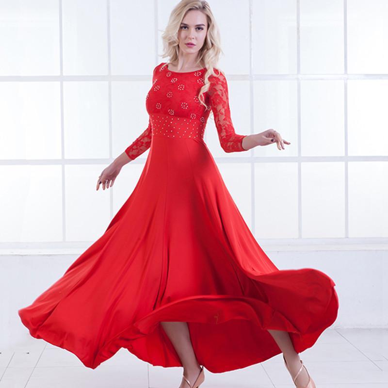 855e8717024 Acheter 6 Couleurs Rouge Robes De Danse Standard Femmes Robe De Flamenco  Robes De Valse De Salon Costumes De Danse Moderne De Tango Robe Sociale  Noire De ...