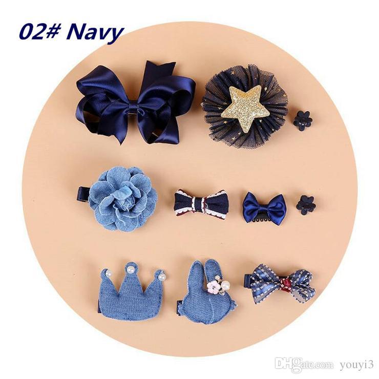 Korean Children's Hair Accessories Set Baby Hairpin Trinkets Barrettes Wholesale Handmade Powder Crystal Multicolor