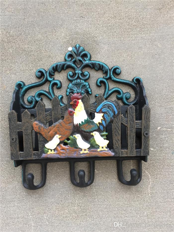 Antique Cast Iron Chicken Family Letter Rack Wall Shelf Wall Mounted Mail and Key Rack 3 Hooks Letter Bill Newspaper Holder Organizer Retro