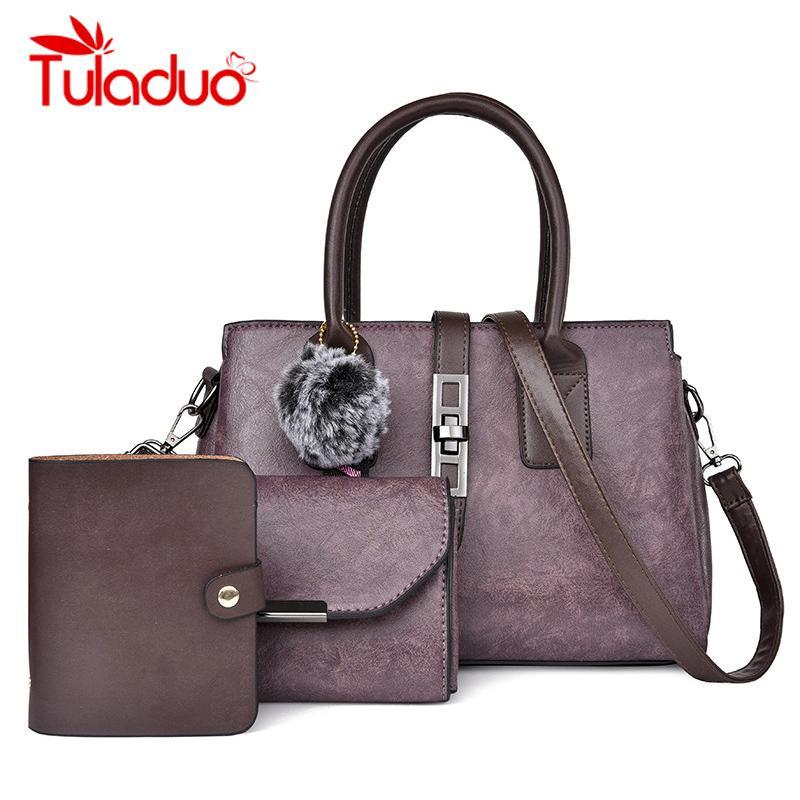 d3cf2070f69b Tuladuo Fashion Women Composite Bag Hairball Pure PU Leather Shoulder  Crossbody Bags Clutch Handbag Large Tote Female Purses Designer Handbags  From Windclot ...
