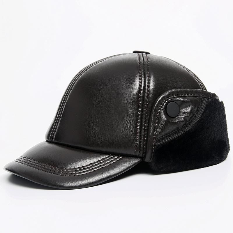 1f73516c8532 Ruso Súper Cálido Sombrero de Invierno Boina Hombres Casquillo de Casquette  de Cuero Genuino Hombre Marrón Negro 100% Orejeras Orejas de piel de ...
