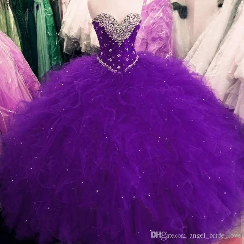 2018 New Royal Blue Sweet 16 Party Debutantes Gowns Puffy Tulle Crystals Sweetheart Neck Corset Back 2017 Plus Size Quinceanera Dresses Q62