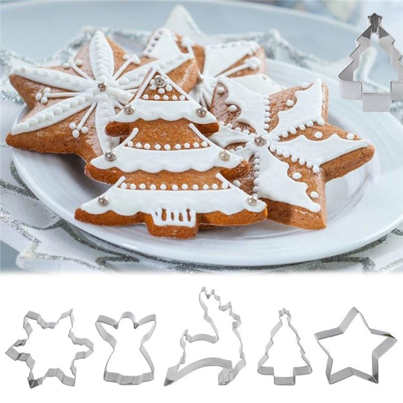 New 5pcs Set Stainless Steel Christmas Tree Snowflake Gingerbread Man Cookies Cutter Fondant Cake Mold Diy Baking Tool