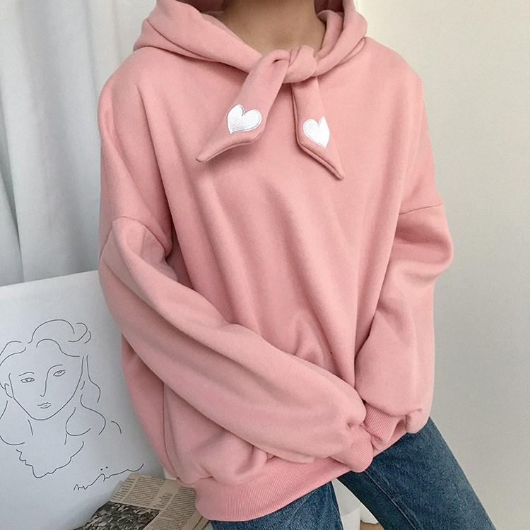 Autumn Women Cute Lace Up Pullover Hoodies Casual Long Sleeve Thickening  Fleece Love Embroidered Sweatshirt UK 2019 From Lotustoot de6546993