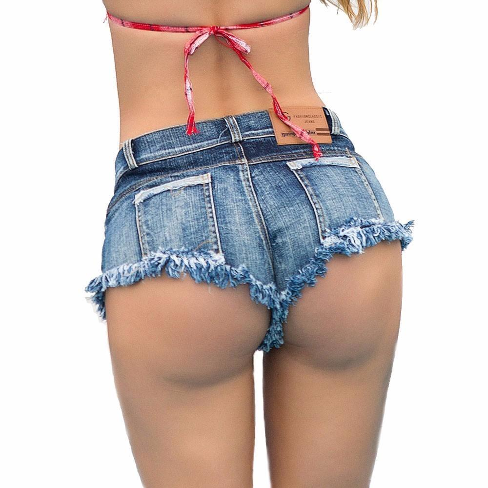 bbdea7e02c0 Plus Size Sexy Women s Summer Denim Shorts Fashion Lace Up Tie Tassel Micro Mini  Jeans Shorts Ultra Low Rise Waist PJ86