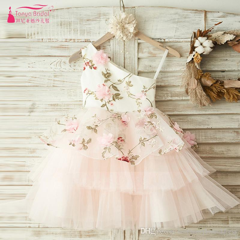 2ac18377a37 Pink Flower Girl Dresses For Wedding Party Knee Lengh 3D Flowers Embroidery  Pageant Dresses For Girls Vestido Flores ZF096 Flower Girl Dresses Under 50  Girl ...