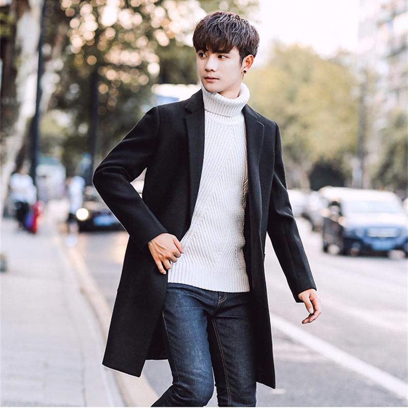 d00c4a89d1471 2019 Plus Siez 2018 Slim Smart Casual Korean Style Wool Mens Coats  Overcoats Fashion Winter Dress Coat From Hoeasy, ...