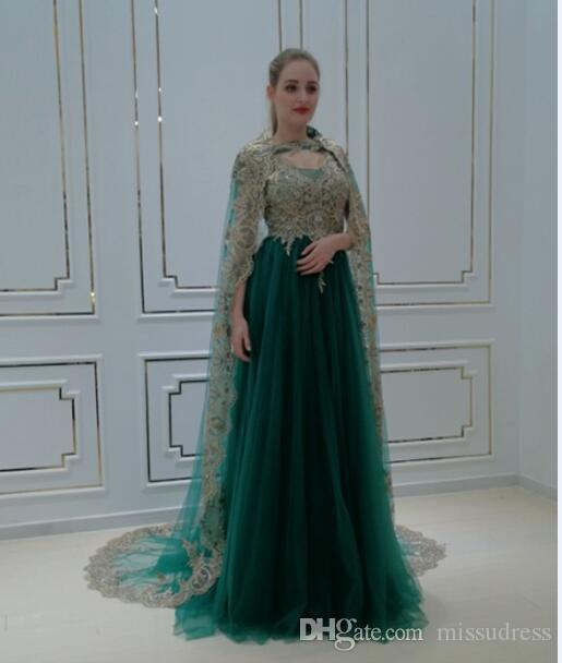 dcd3978896 Green Arabic Evening Gowns Woman Muslim Long Sleeve Evening Dresses With  Long Bolero Gold Appliques Dresses Prom Ladies Occasion Dresses Long Black  Evening ...
