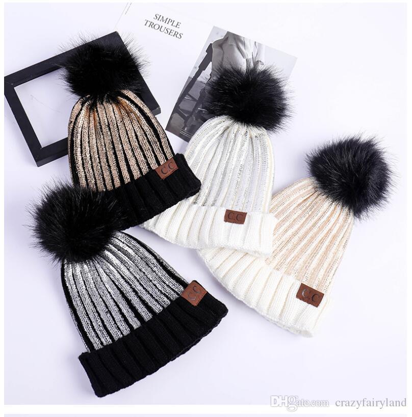 Compre Sombreros De Invierno Cc Marca Mujeres Piel Pom Poms Sombrero ...