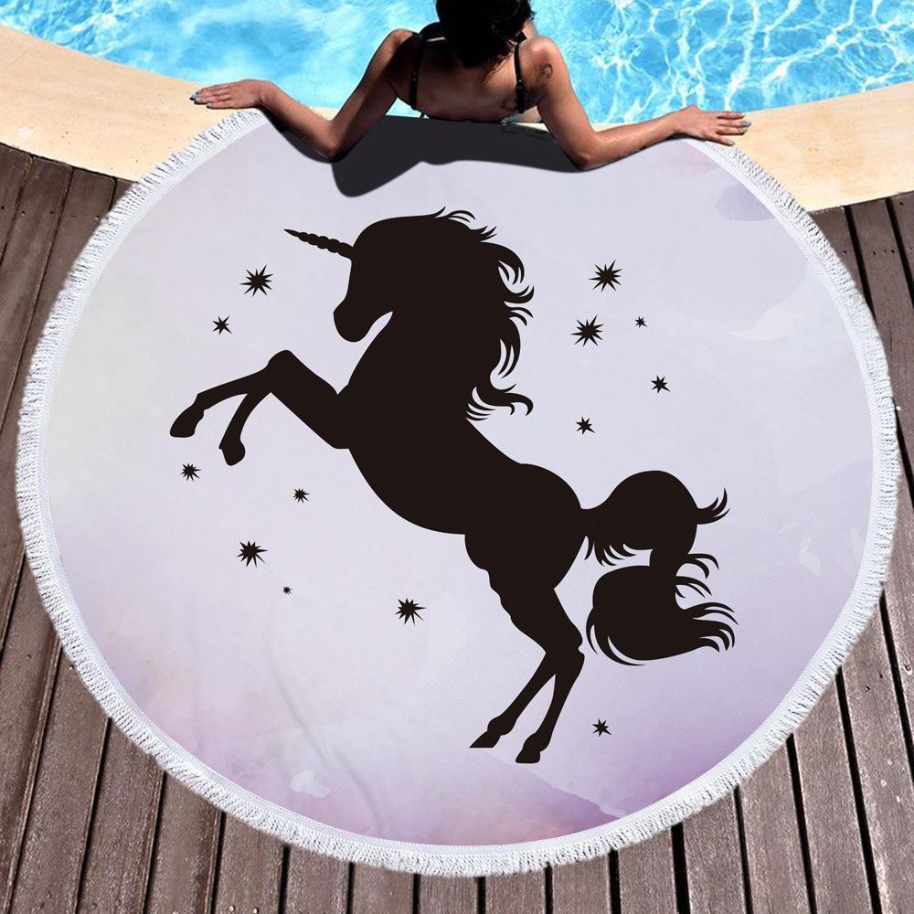 2018 летний круглый Единорог многофункциональный пляж полотенце Шаль йога коврик 8 цветов круглый 150 * 150 см мультфильм стены одеяла M068