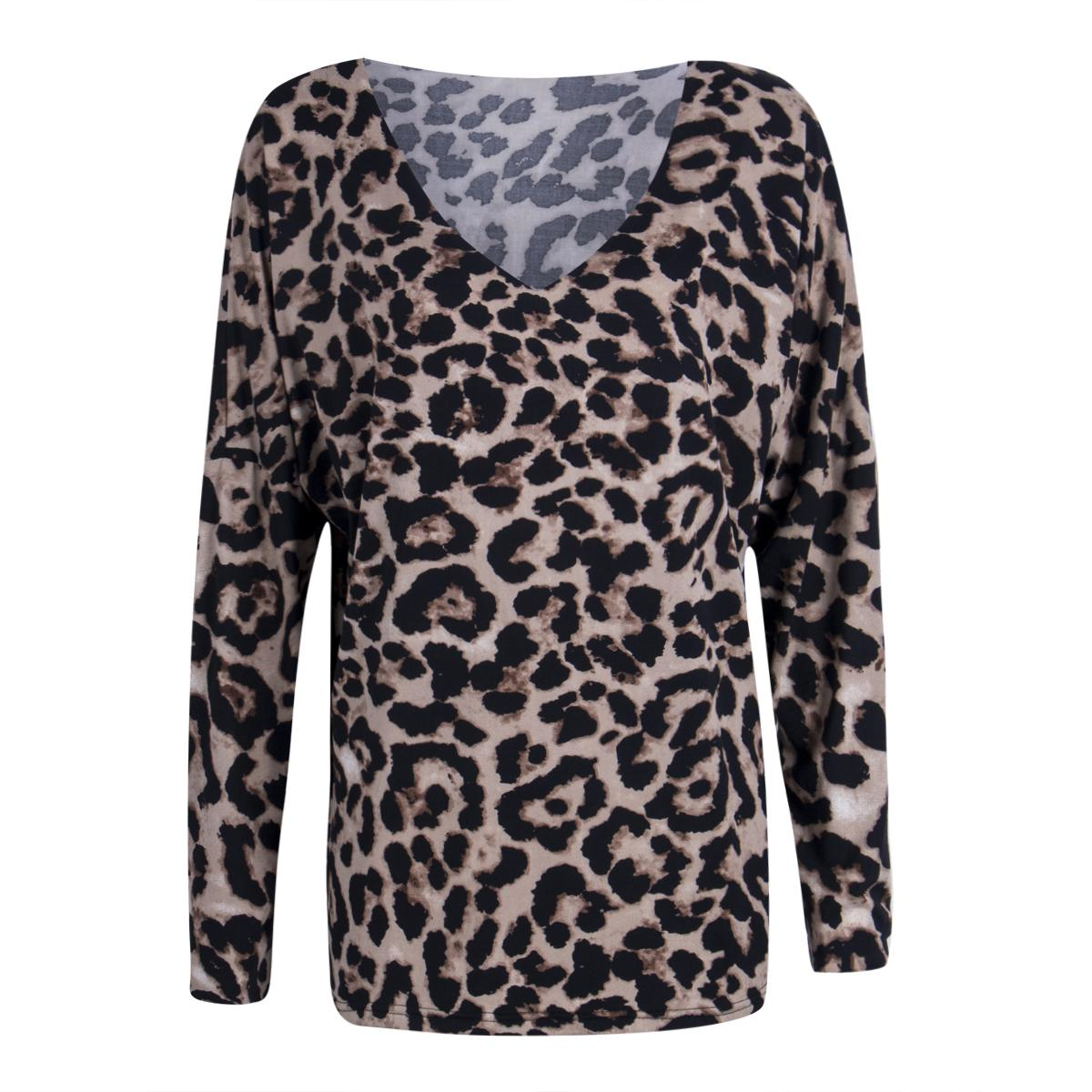 783bd613a2db Ladies Leopard Print Tops T Shirts Women Autumn Casual Long Sleeve V Neck  Loose Tee Shirt Shop For T Shirts Online T Shirt With A T Shirt On It From  ...