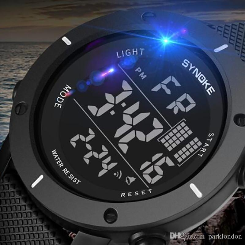 SYNOKE LED Digital Sport Watch Kids Outdoor Waterproof Electronic Watches Multi-Function 50M Double Action 9658 Watch