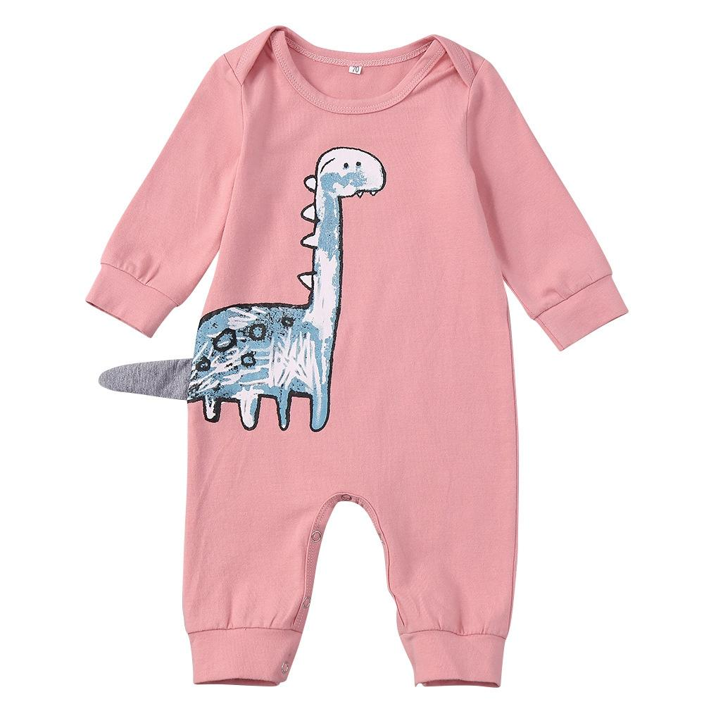 aecc4b8bf773 2019 Baby Girls Rompers Infant Jumpsuit Autumn 2018 Newborn Cotton Clothes  Cute Cartoon Dinosaur Rompers Toddler Girls Outfits Pink From Hanlley