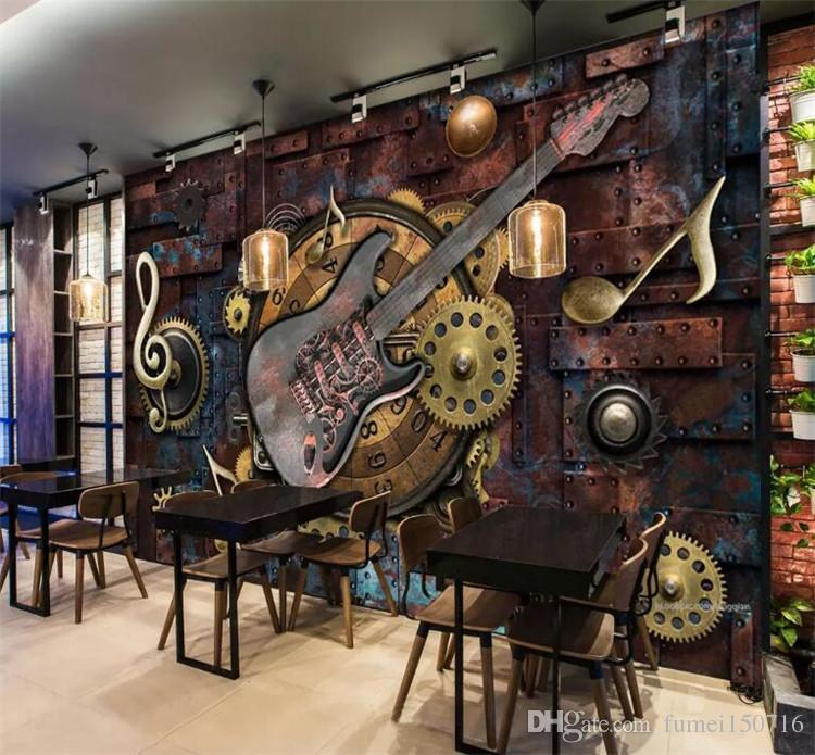custom mural wallpaper wall covering retro metal gears musical notescustom mural wallpaper wall covering retro metal gears musical notes guitar bar ktv background picture decoration wall painting download free wallpaper