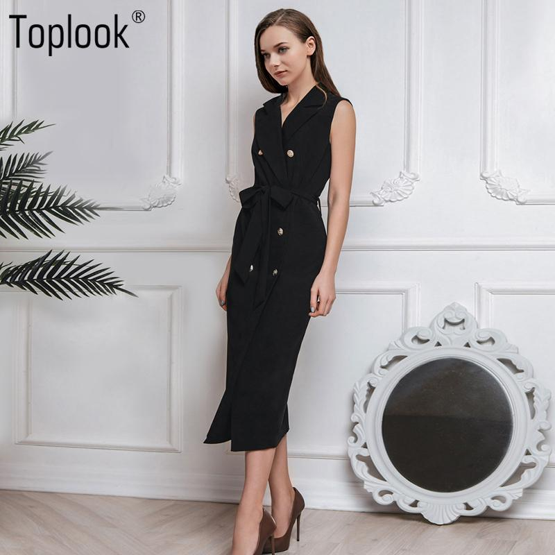 0a0b330568372 Toplook Black Belted Dress Women 2018 Summer Straight Elegant Vantage  Sleeveless Mid-Calf Notched Pockets Dresses Office LadyY1882301 Online with  ...