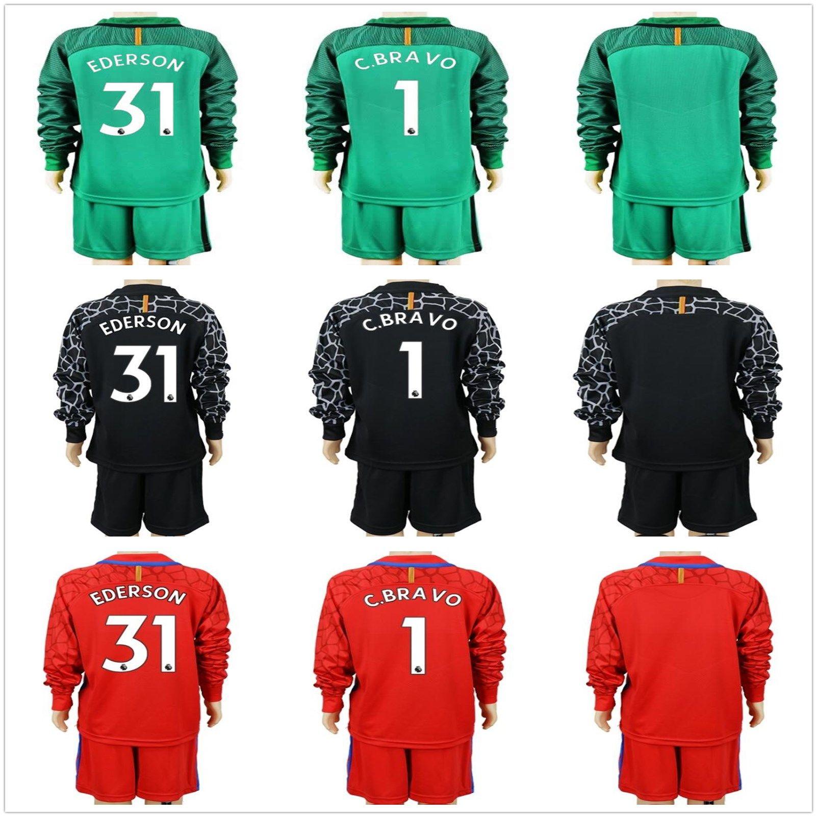 2017 2018 long kids city goalkeeper jerseys youth claudio bravo goalkeeper jersey c. bravo ederson child goalkeeper soccer sets uniform kits camisetas
